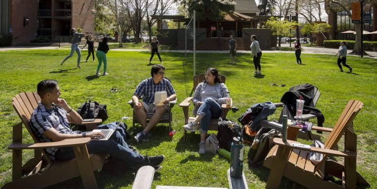 students in the mcgeorge quad